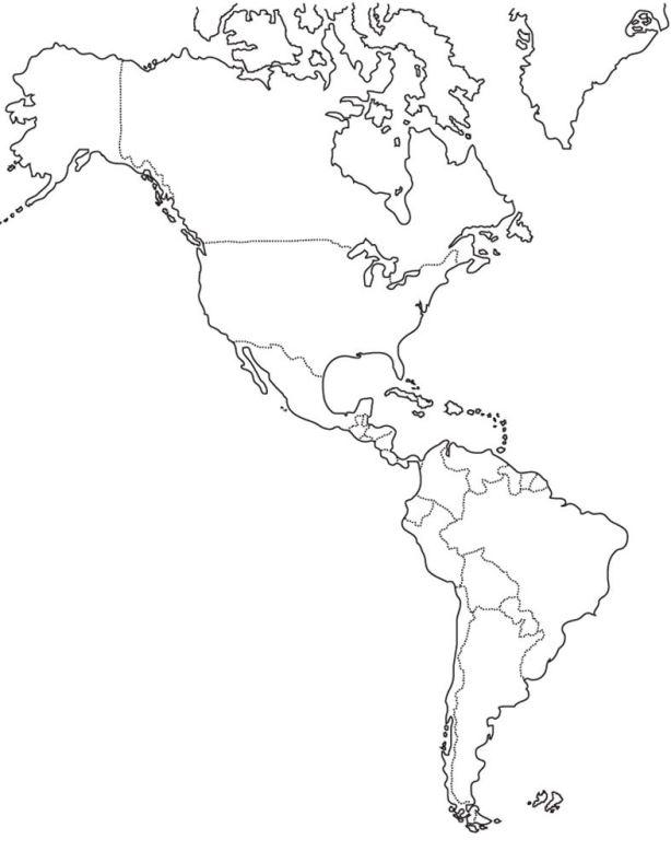 Mapa de América para dibujar sin nombres