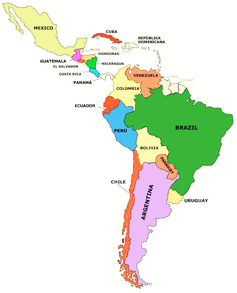Mapa de Latinoamrica  Mapa de Amrica