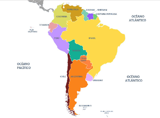Mapa de Sudamérica con nombres