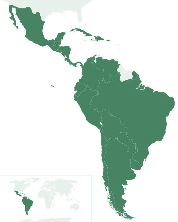 Mapa de ubicación de América Latina