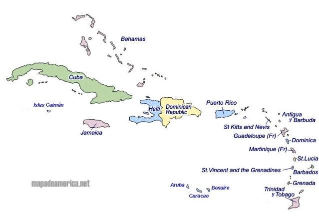 Mapa del Caribe con sus países