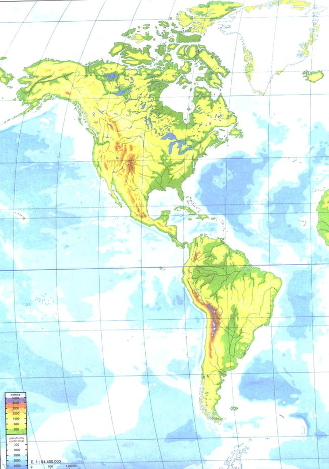 Mapa geográfico de América