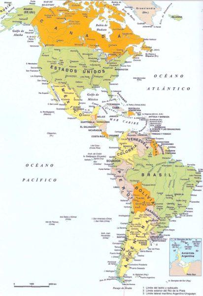 Mapa de América completo