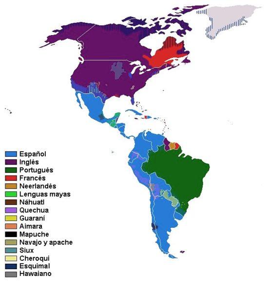 Mapa de idiomas de América