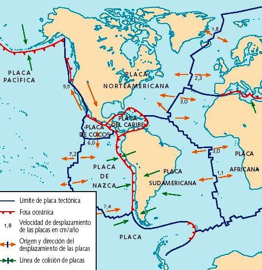 Mapa de placas tectónicas de América