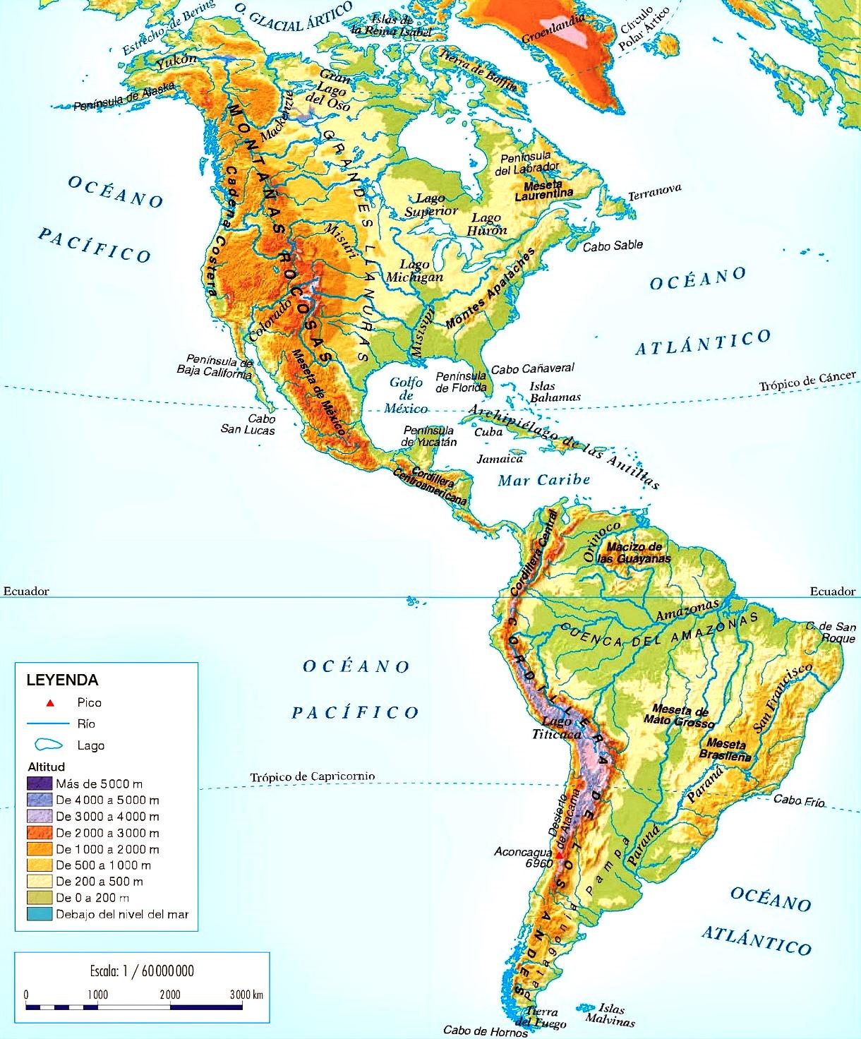Mapa de relieve de América - Mapa de América