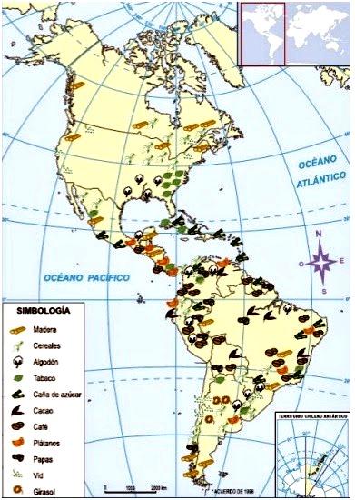 Mapa de actividades económicas de América