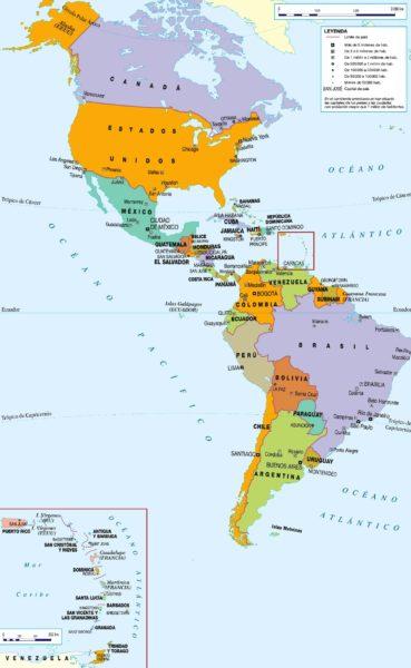 Mapa de América con sus ciudades y capitales