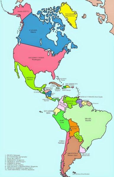 Mapa de América con sus capitales
