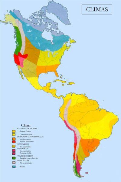 Mapa de América con sus climas
