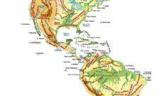 Mapa de América con sus cordilleras