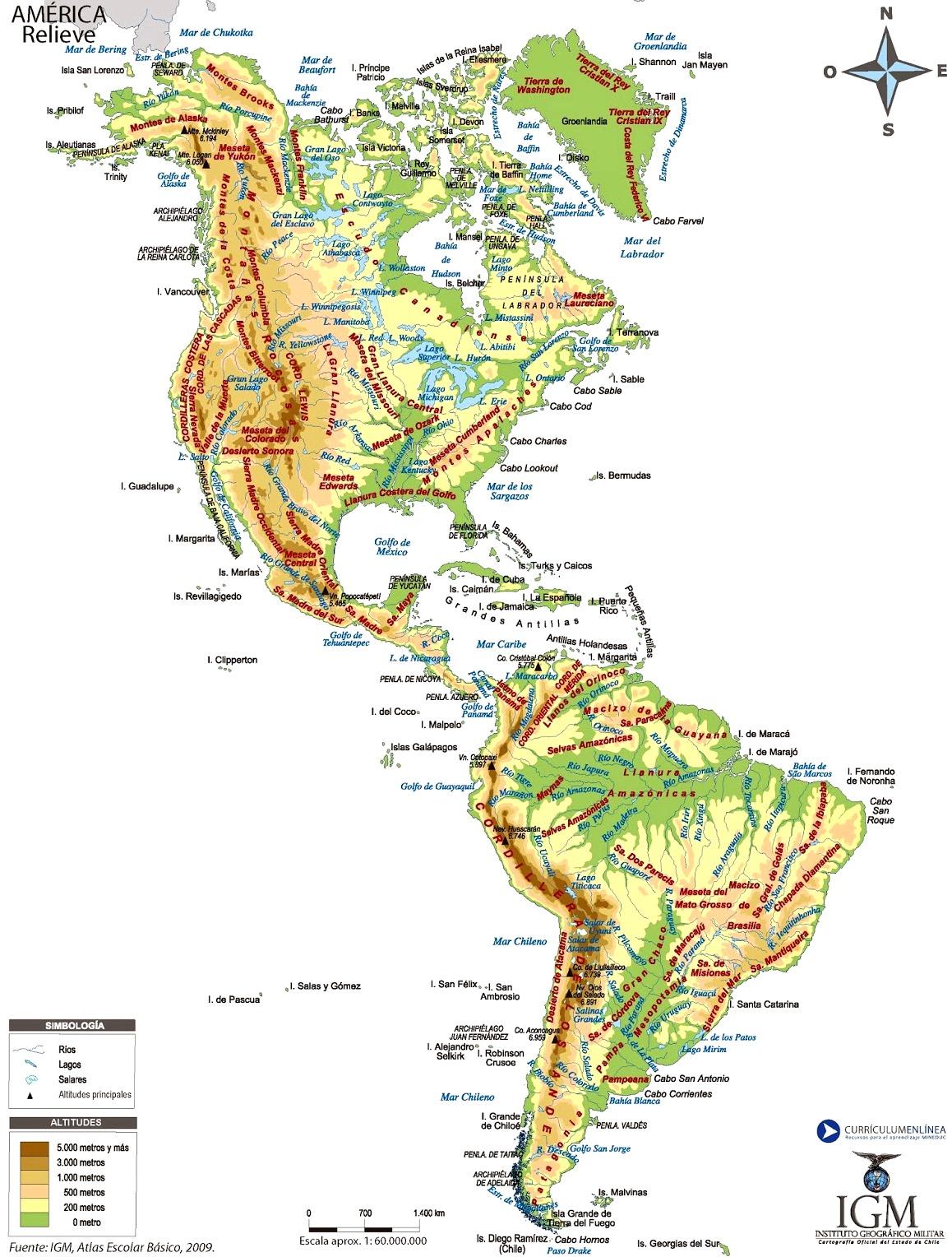 Mapa De America Con Sus Cordilleras Mapa De America