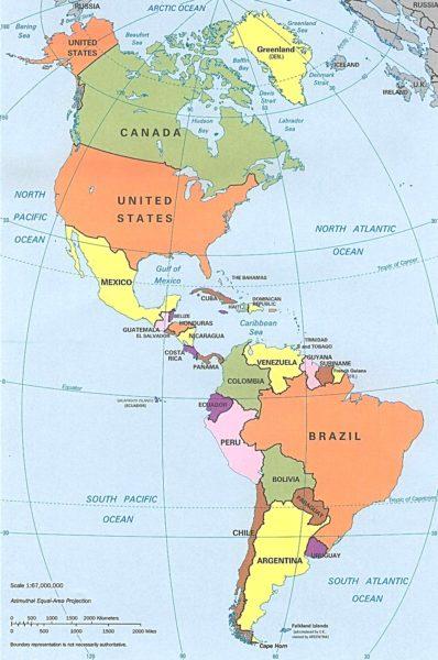 Mapa de América con división política