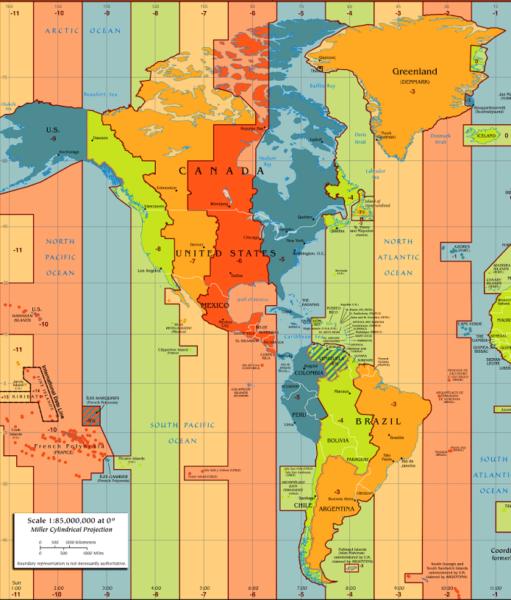 Mapa de América con husos horarios