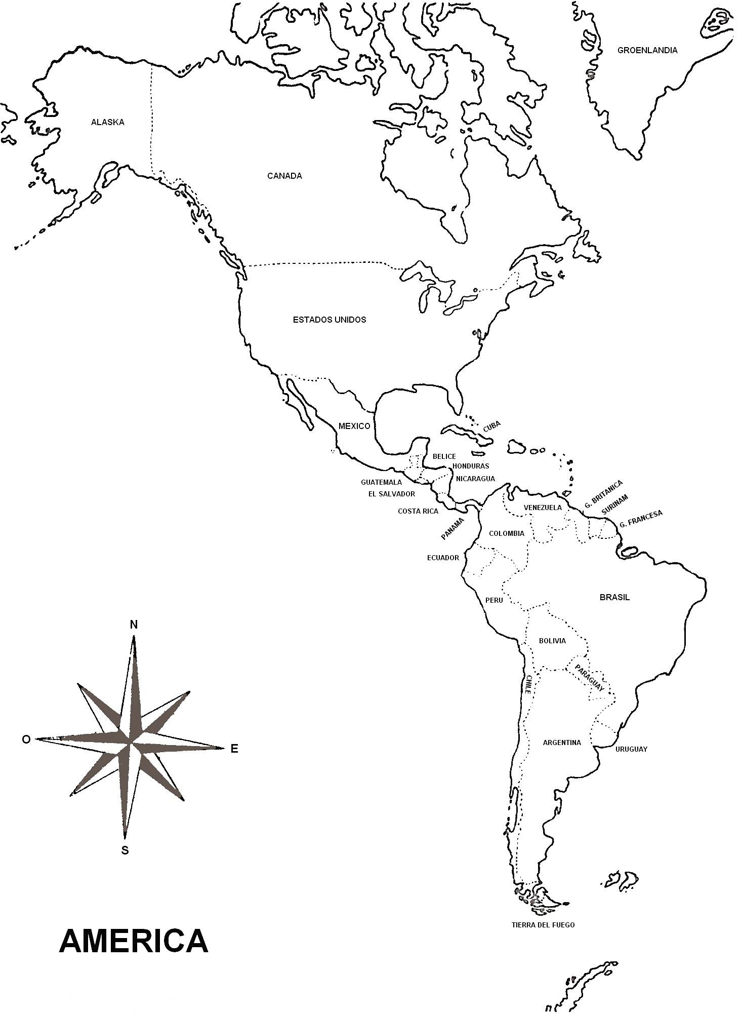 Mapa de América para imprimir - Mapa de América