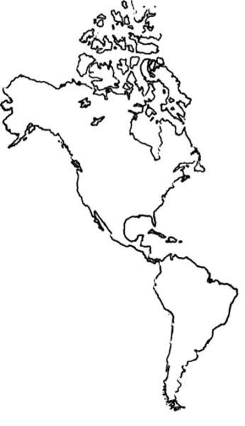 Mapa de América sin división política
