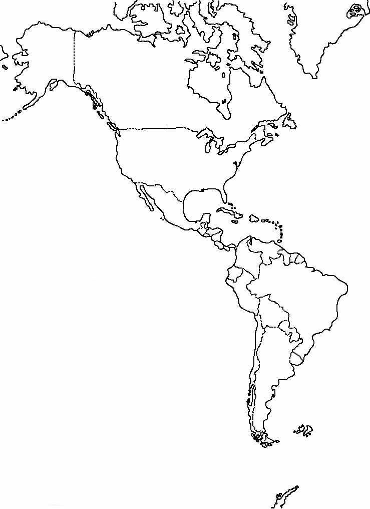 Mapa de América sin nombres - Mapa de América