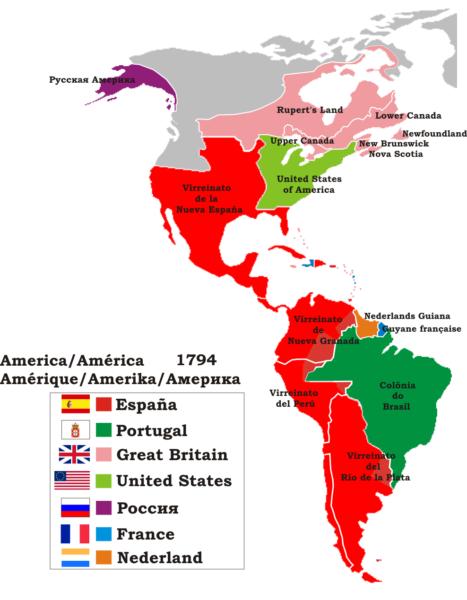 Mapa de colonización de América