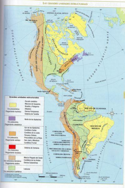 Mapa de montañas de América