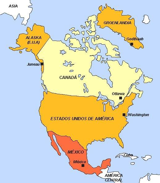 Mapa de Norte América