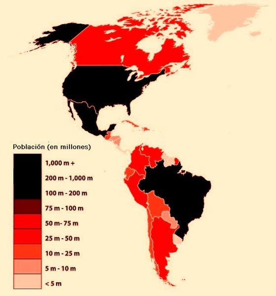 Mapa de población de América