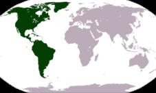 Mapa de ubicación del continente americano