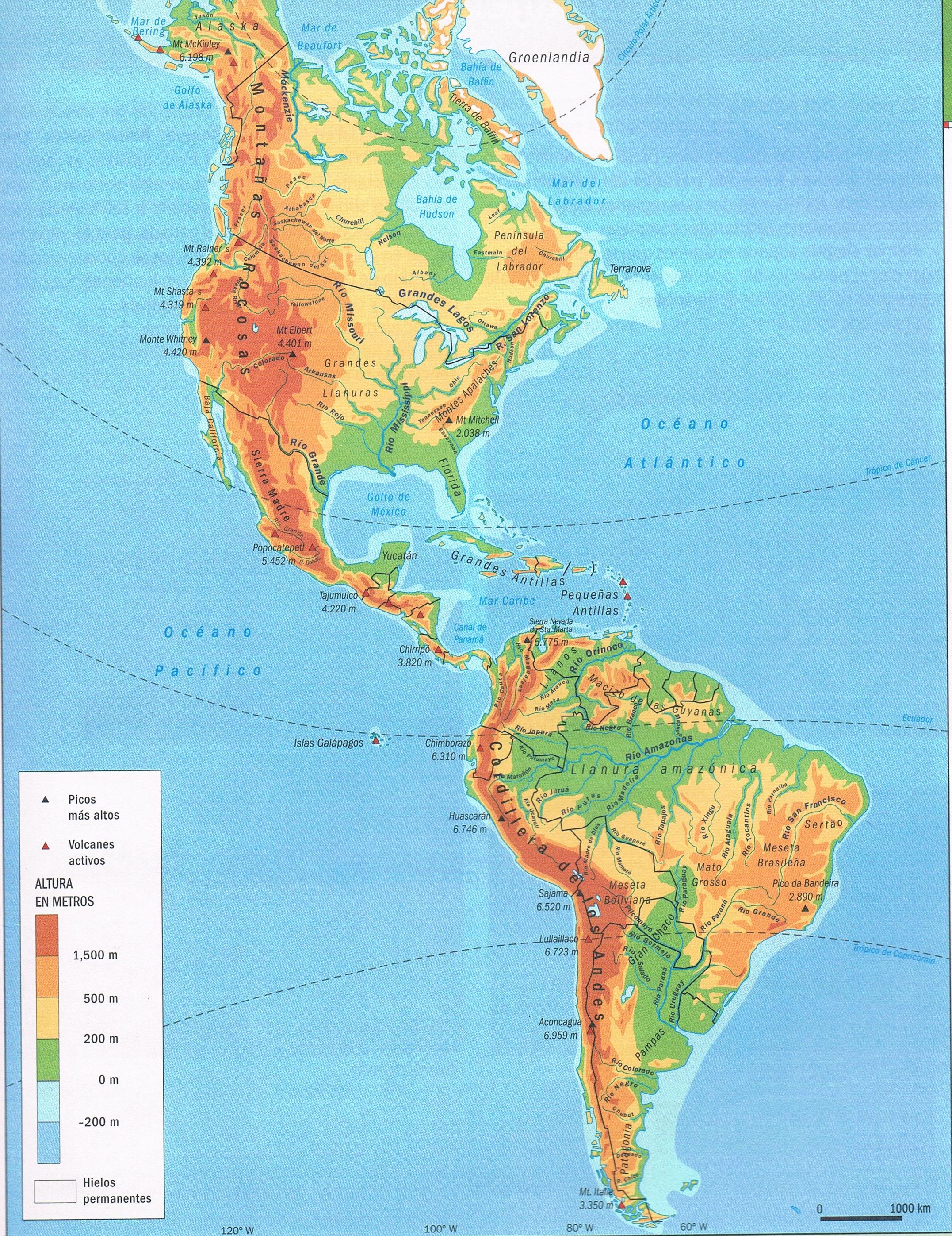 Mapa Orográfico De América Mapa De América
