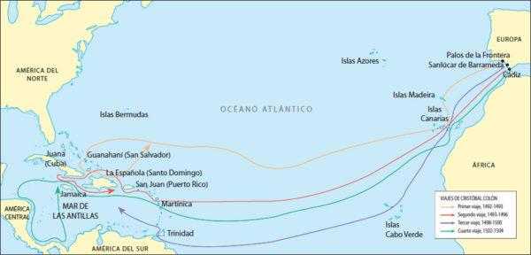 Mapa de los viajes de Cristóbal Colón a América