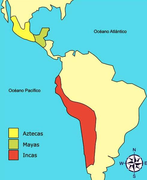 Ubicación de los mayas, aztecas e incas en el mapa de América